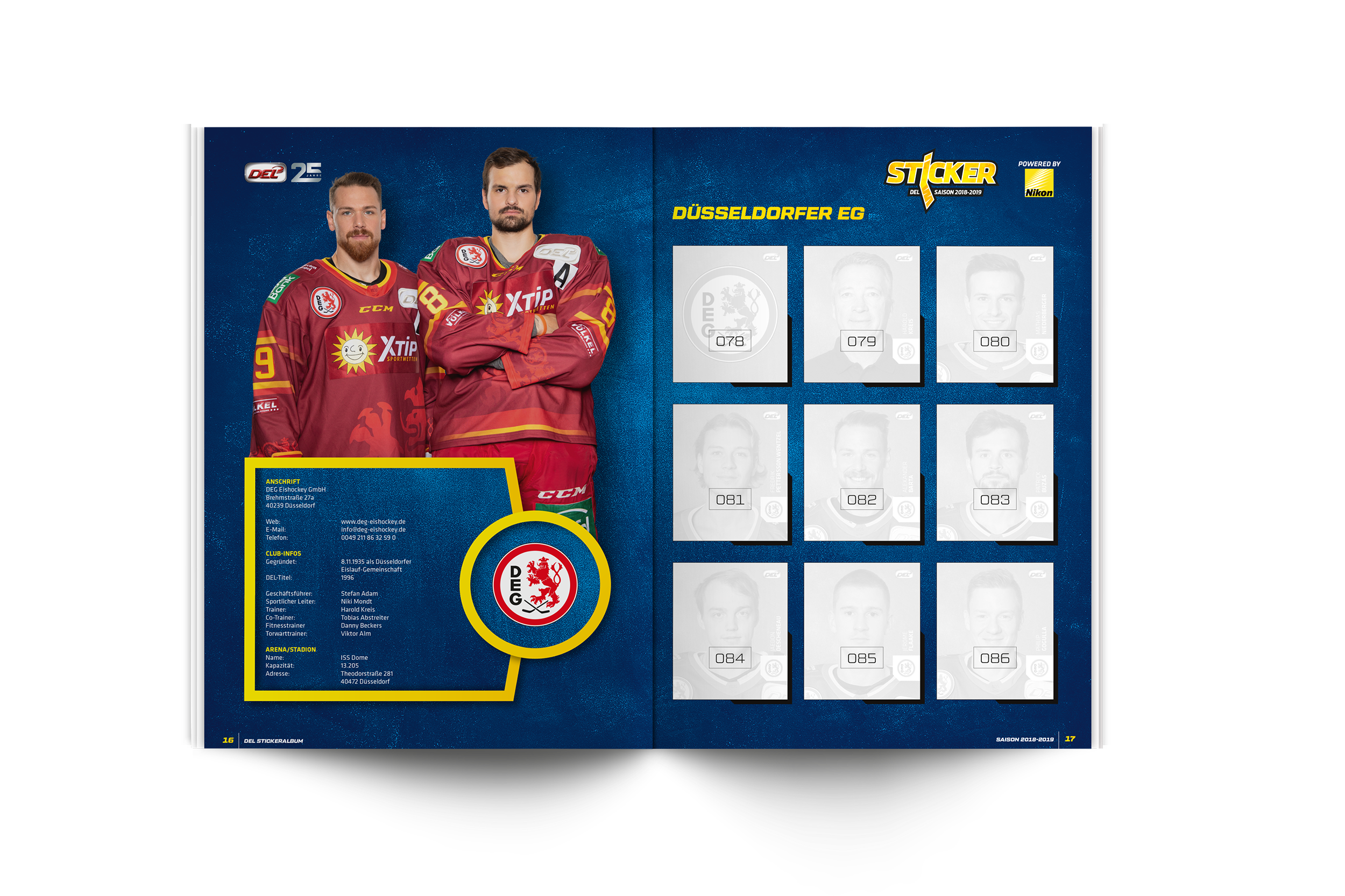 DEL Sticker Sammelalbum 2018/2019 + 10 Sticker